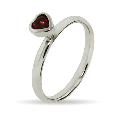 Red CZ Heart Silver Stackable Ring | Eve's Addiction®