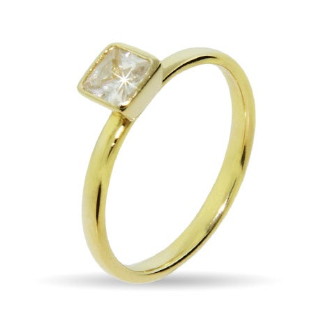 Princess Cut Gold Vermeil CZ Stackable Ring | Eve's Addiction®