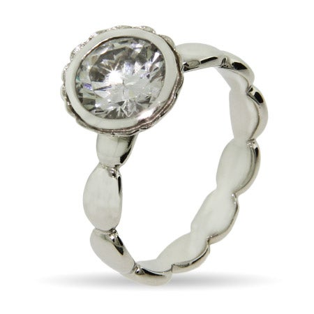 Round Brillant Cut Vintage CZ Stackable Ring | Eve's Addiction®