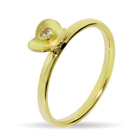 Gold Vermeil CZ Flower Stackable Ring | Eve's Addiction®