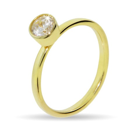Gold Vermeil Solitaire Bezel CZ Stackable Ring | Eve's Addiction®