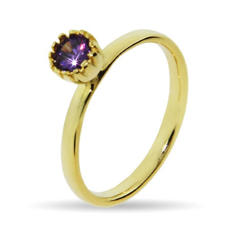 Gold Vermeil Crown Set Amethyst CZ Stackable Ring | Eve's Addiction®