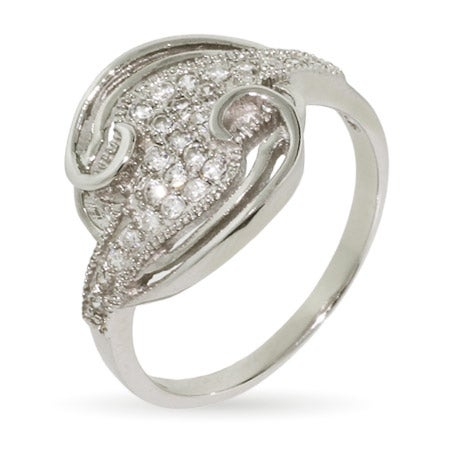 Swirling Circle Sterling Silver Micropave CZ Ring | Eve's Addiction®