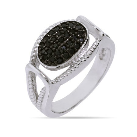 Designer Inspired Black Onyx CZ Sterling Silver Cabled Knot Ring | Eve's Addiction®