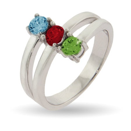 Stacked 3 Stone Mothers Birthstone Ring in Sterling Silver | Eve's Addiction®