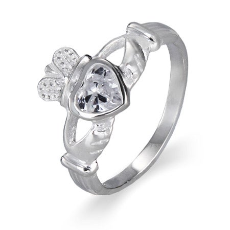 Clear Cubic Zirconia Claddagh Ring in Sterling Silver | Eve's Addiction®