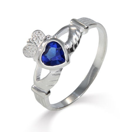 Sterling Silver Sapphire CZ Claddagh Ring | Eve's Addiction®