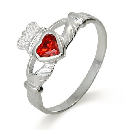 Sterling Silver Ruby CZ Claddagh Ring | Eve's Addiction®