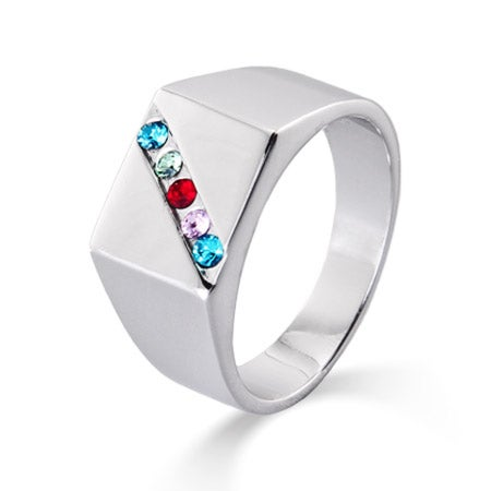 5 Stone Men's Custom Family Birthstone Austrian Crystal Ring | Eve's Addiction®