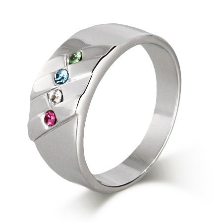4 Stone Men's Family Birthstone Sterling Silver Ring | Eve's Addiction®