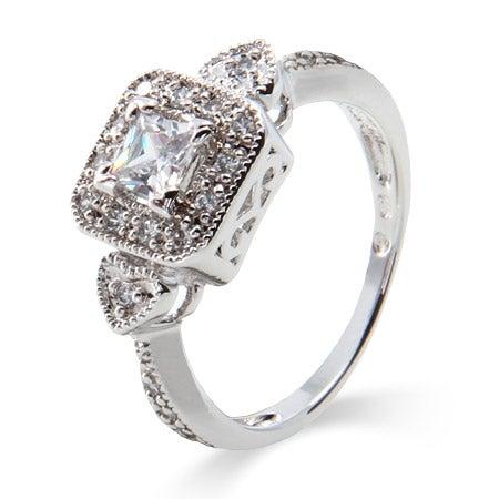 Deco Style Princess Cut CZ Promise Ring | Eve's Addiction®