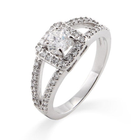 Vintage Style Round Cut CZ Promise Ring with Split Band | Eve's Addiction®
