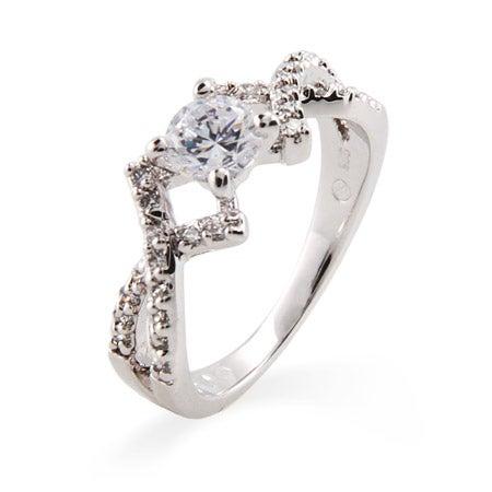 Elegant Brilliant Cut CZ Promise Ring with Cross Design | Eve's Addiction®