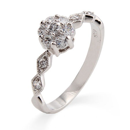Precious Flower and Sway Band CZ Promise Ring | Eve's Addiction®