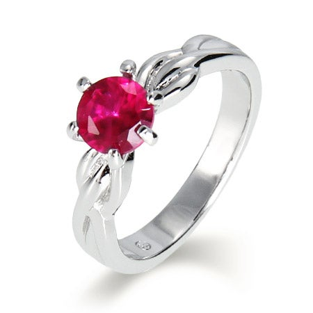 Single CZ Birthstone Ring with Sterling Silver Woven Band | Eve's Addiction®