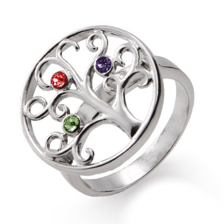 3 Stone Sterling Silver Custom Birthstone Family Tree Ring | Eve's Addiction®