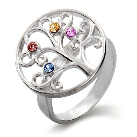 Custom 4 Birthstone Family Tree Ring in Sterling Silver | Eve's Addiction