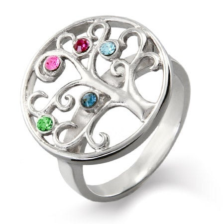 5 Custom CZ Birthstone Family Tree Ring in Silver | Eve's Addiction®