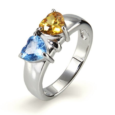 Two Hearts CZ Birthstone Engravable Ring in Sterling Silver | Eve's Addiction®