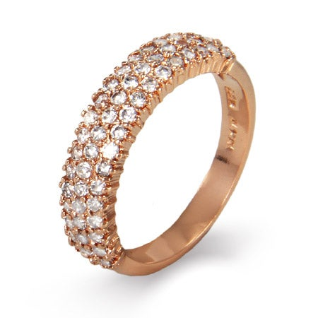 Sparkling Diamond CZ Three Row Rose Gold Vermeil Ring | Eve's Addiction®