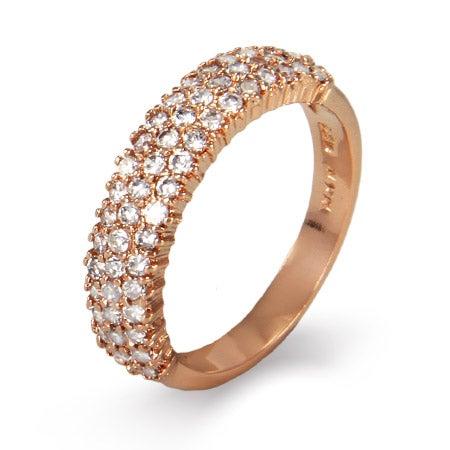 Sparkling Diamond CZ Three Row Rose Gold Vermeil Ring | Eve's Addiction®