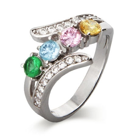 4 Stone CZ Bypass Birthstone Mother's Ring | Eve's Addiction®