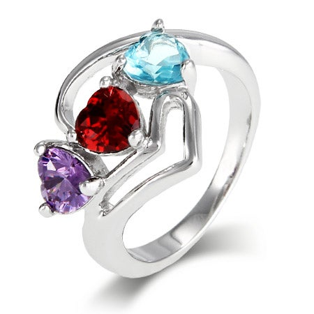 3 Custom Hearts Birthstone Ring with  Modern Silver Design | Eve's Addiction®