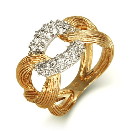 Designer Style Gold Vermeil Cuban Link Ring | Eve's Addiction®