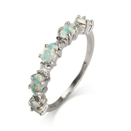 Opal and CZ Stackable Ring in Sterling Silver | Eve's Addiction®