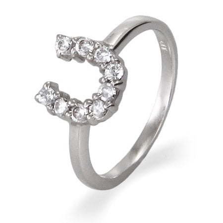 Sterling Silver CZ Horseshoe Ring | Eve's Addiction®