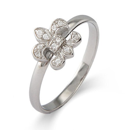 CZ Fleur de Lis Silver Stackable Ring | Eve's Addiction®