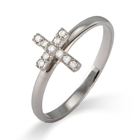 CZ Cross Stackable Ring | Eve's Addiction®