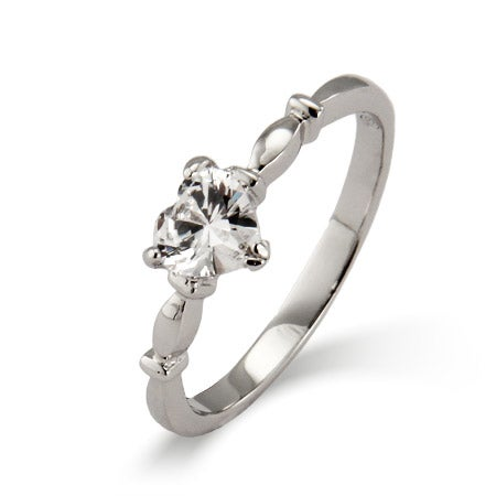 Sterling Silver Simple CZ Heart Promise Ring | Eve's Addiction®
