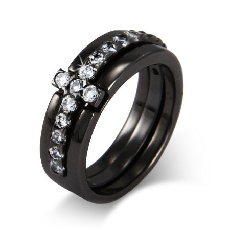 Black Rhodium CZ Sideways Cross Ring | Eve's Addiction®