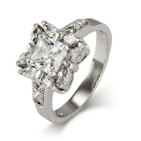 Dazzling Princess and Marquise Cut CZ Right Hand Ring | Eve's Addiction®