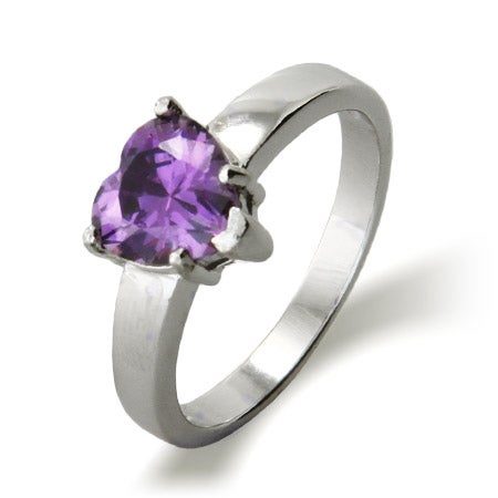 Single CZ Birthstone Heart Engravable Promise Ring | Eve's Addiction®