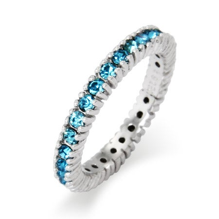 3mm Wide March Aquamarine CZ Birthstone Stackable Ring | Eve's Addiction®