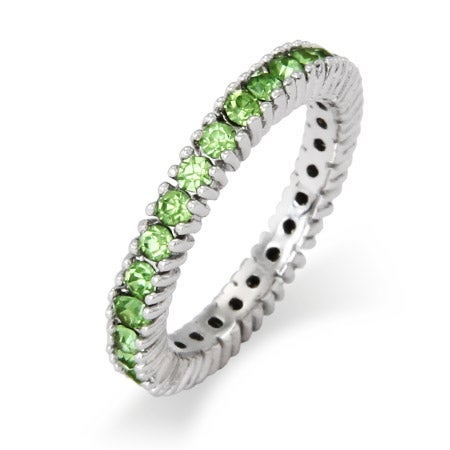 August Peridot Birthstone Stackable Ring in Sterling Silver | Eve's Addiction®