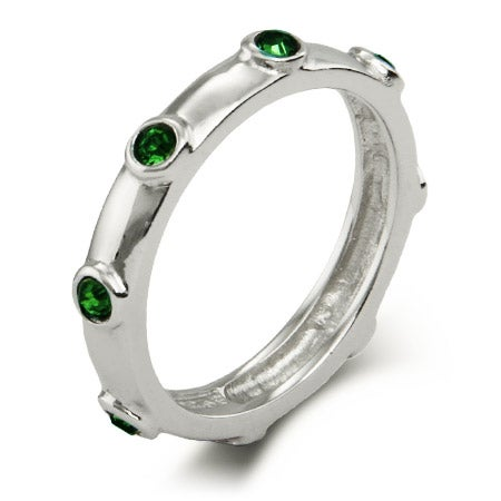 Classic May Birthstone Emerald CZ Bezeled Ring | Eve's Addiction®