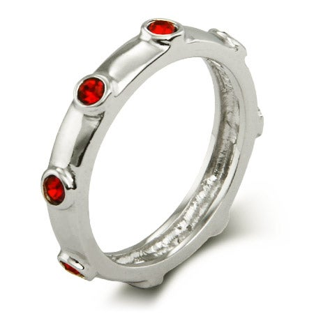 Ruby Red July Birthstone Bezeled Silver Ring | Eve's Addiction®
