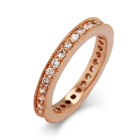 Vintage Style Rose Gold CZ Eternity Band | Eve's Addiction®