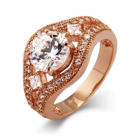 Brilliant Cut CZ Vintage Rose Gold Ring | Eve's Addiction