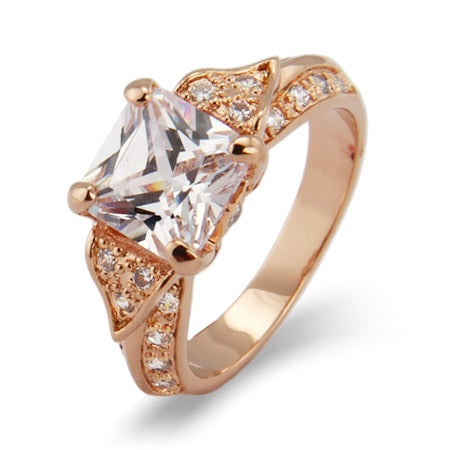 Deco Style Rose Gold Princess Cut CZ Engagement Ring | Eve's Addiction®
