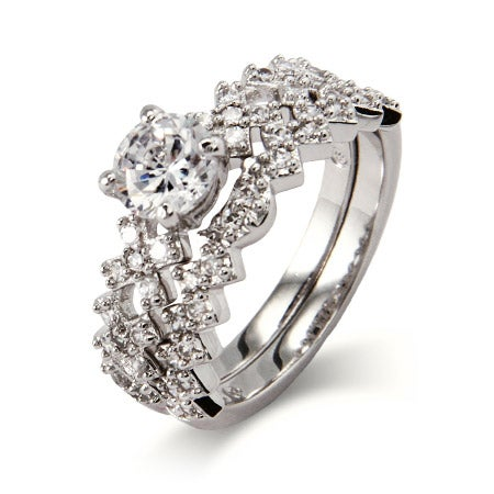 Sparkling Hugs and Kisses CZ Engagement Ring Set | Eve's Addiction®