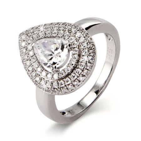Sparkling Pear Cut CZ Ring with Micro Pave Border | Eve's Addiction®