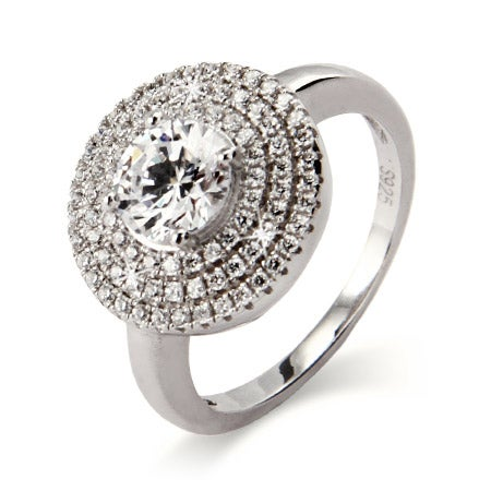 Stunning Brilliant Cut CZ Silver Ring with Micro Pave Border | Eve's Addiction®