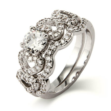 Loving Hearts CZ Engagement Ring Set | Eve's Addiction®