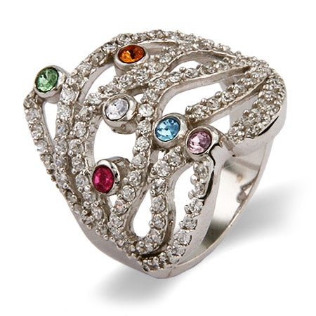 6 Stone Custom Austrian Crystal Dazzling Birthstone Family Ring | Eve's Addiction®