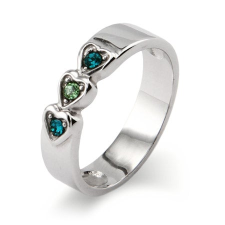 3 stone Austrian Crystal Engravable Birthstone Ring | Eve's Addiction®