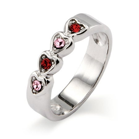 4 stone Austrian Crystal Band of Hearts Family Birthstone Ring | Eve's Addiction®